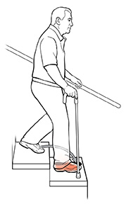 Side view of a man using a cane on stairs. The arrow shows where he should put his foot to move down the stairs.