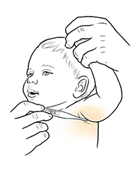 Closeup of adult raising baby's arm to place digital thermometer in armpit.